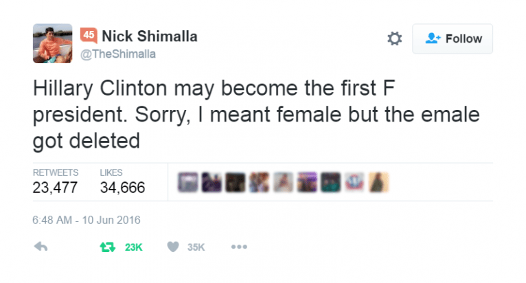 This guy's Tweet about Hillary Clinton has gone viral!